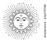 hand drawn sun with face... | Shutterstock .eps vector #626270780