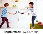 kids playing active fight games ... | Shutterstock . vector #626274704