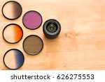 single camera lens with pile of ... | Shutterstock . vector #626275553