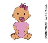 cute baby girl icon   Shutterstock .eps vector #626276666
