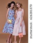 two beauty woman model wear... | Shutterstock . vector #626281370
