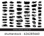 set of black paint  ink  grunge ... | Shutterstock .eps vector #626285660
