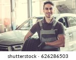 at the auto service. handsome... | Shutterstock . vector #626286503