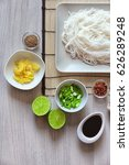 plate with rice noodles and...