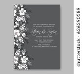 monochrome wedding invitation...   Shutterstock .eps vector #626290589
