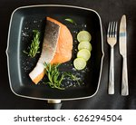 orange salmon with leather and... | Shutterstock . vector #626294504