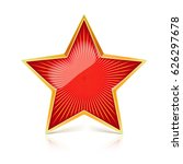 red star with gold metal rim...   Shutterstock .eps vector #626297678