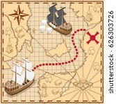 pirate map with the route to... | Shutterstock .eps vector #626303726