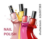colorful nail lacquer  nail... | Shutterstock .eps vector #626307383