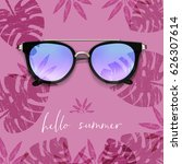 realistic sunglasses. palm... | Shutterstock .eps vector #626307614