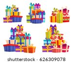 set with big piles of colorful... | Shutterstock .eps vector #626309078