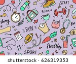 set of hand drawn sport doodle... | Shutterstock .eps vector #626319353