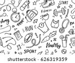 set of hand drawn sport doodle... | Shutterstock .eps vector #626319359