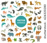 Stock vector collection of animals of the world vector illustration of simple cartoon animal icons 626320280