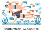 coral diving illustration | Shutterstock .eps vector #626320748