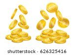 realistic gold coin stacks.... | Shutterstock .eps vector #626325416