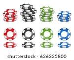 realistic 3d casino chips... | Shutterstock .eps vector #626325800