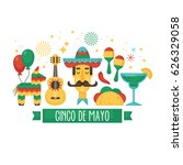 cinco de mayo mexican holiday... | Shutterstock .eps vector #626329058