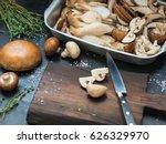 Various Raw Mushrooms   King...