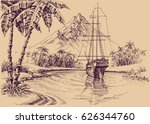 tropical gulf and boat. pirate... | Shutterstock .eps vector #626344760
