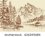 alpine landscape  river and... | Shutterstock .eps vector #626345684