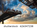 Stock photo st petersburg russia construction bridge crossing this toll highway will connect the southwest 626347238