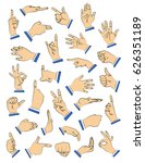 vector illustrated hand set in... | Shutterstock .eps vector #626351189
