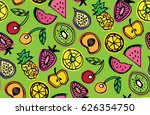 hand drawn doodle pattern with... | Shutterstock .eps vector #626354750