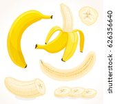vector banana in various forms. ... | Shutterstock .eps vector #626356640