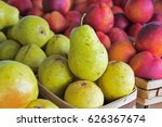 pears in produce boxes with... | Shutterstock . vector #626367674