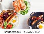 delicious full english...   Shutterstock . vector #626370410