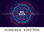 Big data visualization. Fractal element with lines and dots array. Big data connection complex. Data array visual concept. Graphic abstract background. Vector illustration | Shutterstock vector #626375054