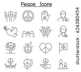 peace icon set in thin line... | Shutterstock .eps vector #626380454