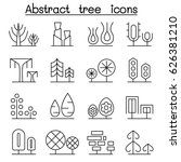 abstract tree icon set in thin...