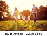 very happy family enjoy while... | Shutterstock . vector #626381558