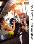 girl with trainer on training... | Shutterstock . vector #626381729