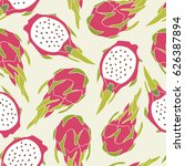 fresh exotic fruits  hand drawn ... | Shutterstock .eps vector #626387894