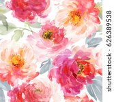 Stock photo seamless pattern with large watercolor flowers by peonies 626389538