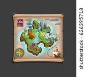 pirate treasure map. vector... | Shutterstock .eps vector #626395718