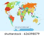 flat world map divided into... | Shutterstock .eps vector #626398079