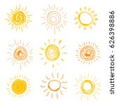 set of sun in hand drawn style. ... | Shutterstock .eps vector #626398886