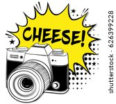 pop art camera. cheese  pop art ... | Shutterstock .eps vector #626399228