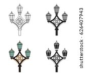 street light icon in cartoon... | Shutterstock .eps vector #626407943