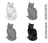 nebelung icon in cartoon style... | Shutterstock .eps vector #626413076