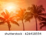 tropical sunset with palm trees | Shutterstock . vector #626418554