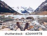 female traveler in hiking boots ... | Shutterstock . vector #626444978