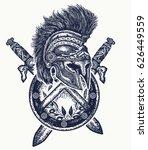 spartan helmet crossed swords... | Shutterstock .eps vector #626449559