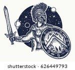spartan warrior holding sword... | Shutterstock .eps vector #626449793