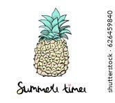 pineapple in cartoon style.... | Shutterstock .eps vector #626459840