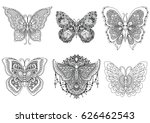 Stock vector a set of beautiful unique butterflies for design element and adult or kids coloring book page 626462543
